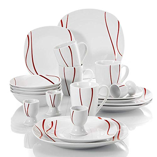 URBANFLIP 20-Piece Stoneware Porcelain Dinnerware Set with Dinner Soup Dessert Plates Coffee Mug Egg Cup Shot Glass Bowl Saucers Service in White and Red Standard FELISA20RD