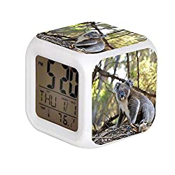 ALPERT Child 7 Color Change LED Digital Alarm Clock with Date Alarm Thermometer Desktop Table Cube Alarm Clock Night Glowing Flash Watch Toys Gray and White Koala Bear Near Trees