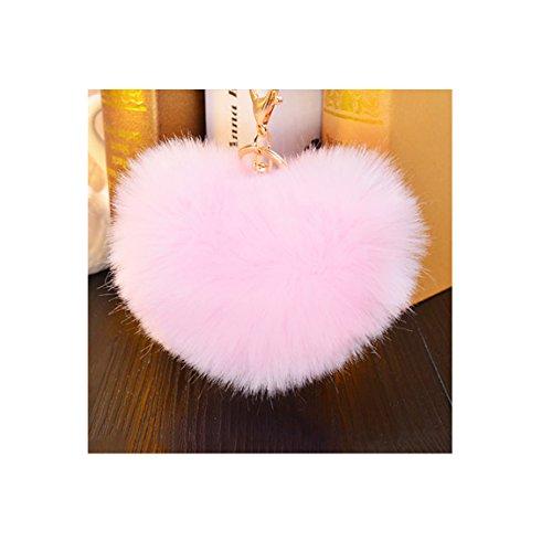 Women Heart Shape Keychain Faux Fur Pompom Ball for Car Key Ring Handbag Pendant Decor Pink