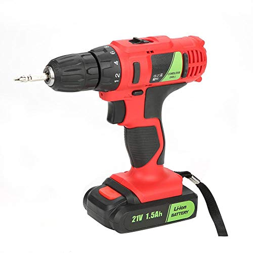 Drill Cordless Combi Hammer - 21V Electric Rechargeable Cordless Drill Screwdriver Industrial Handheld Tool for Drilling Screwing Percussion of Wood Metal Plastic(US Plug)