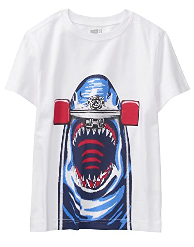 Crazy 8 Boys' Little Short Sleeve Crewneck Graphic Tee, White Shark Skateboard, XL