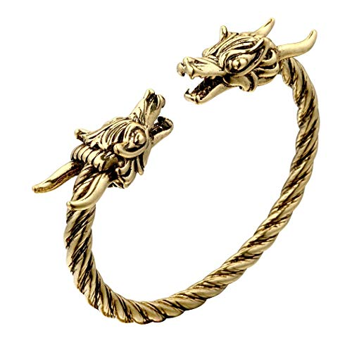 AILUOR Men's Double Head Dragon Bracelet, Norse Viking Adjustable Stainless Steel Gold Sliver Cuff Cool Polished Twisted Arm Ring Cable Bangles Pagan Jewelry (Gold-1) - Head Bracelet Dragon
