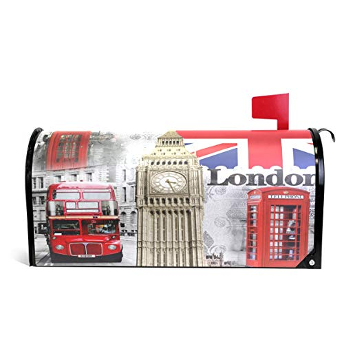 British Standard Flag - ZZKKO Magnetic Mailbox Covers City Landmarks British Flag Retro Big Ben London England Letter Box Cover Colorful Painting Graden Outdoor Decorations,20.8x18 Inch Standard Size,Multicolor