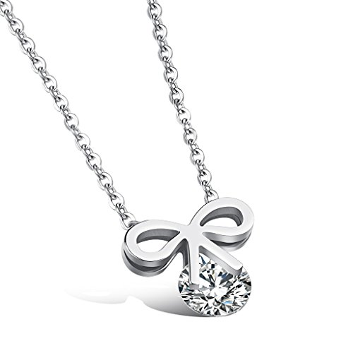 [Bow Tie Cubic Zirconia Necklace Stainless Steel Pendant Chain 16 Inch Lucky Dalaran] (Old Navy Halloween Costumes Elephant)