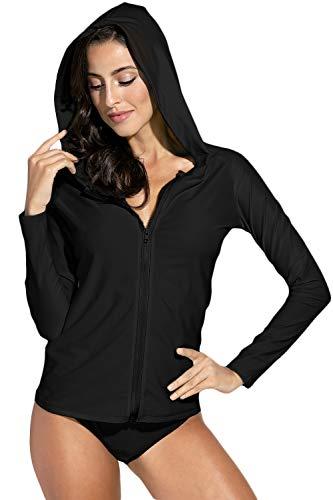 Spadehill Half Zipper Rashguard for Womens Solid Rash Guard Bathing Suit Rashguard Top Black L