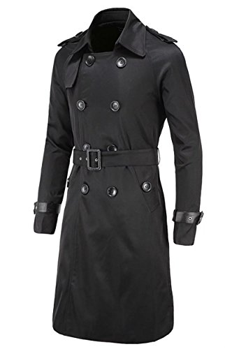 Men Black Trench Coat - 8