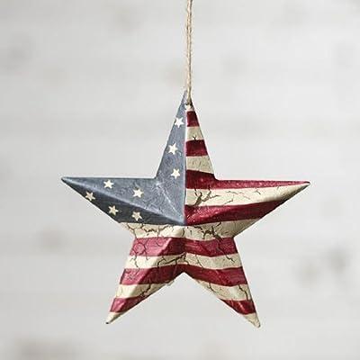 "Darice Americana 4th July Decor - USA Flag Crackled Barn Star - SM 5.75"" 4pk"