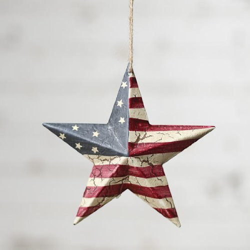 (Darice Americana 4th July Decor - USA Flag Crackled Barn Star - SM 5.75