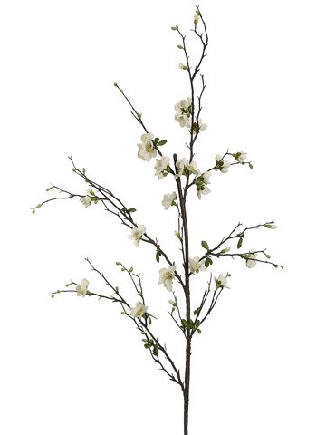 57'' Quince Blossom Branch Cream (Pack of 12) by Silk Decor