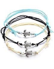 ZHOUBA 3 Stks Bohemen Vrouwen Geweven Touw Zee Schildpad Steen Enkelband Armband Voet Sieraden