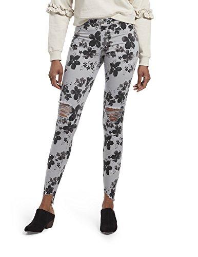 HUE Women's Angled Hem Denim Skimmer Leggings (Sleet - Floral Ditsy, L)