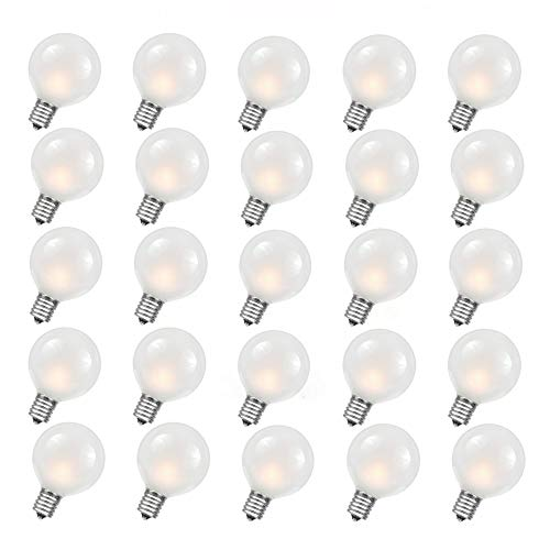 (Monkeydg 25-Pack G40 Outdoor Globe Replacement Bulbs with Frosted White, 5 watts /110 volts/E12 Base)
