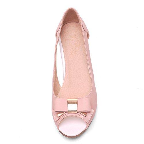 TAOFFEN women Comfort Peep Toe Slip On Wedges Heel Sandals with Bow Pink vLU9xdcL0
