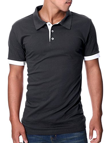 OHOO Mens Slim Fit Short Sleeve Plain Polo Shirt in Pure Cotton/DCP008-CHARCOAL-L ()