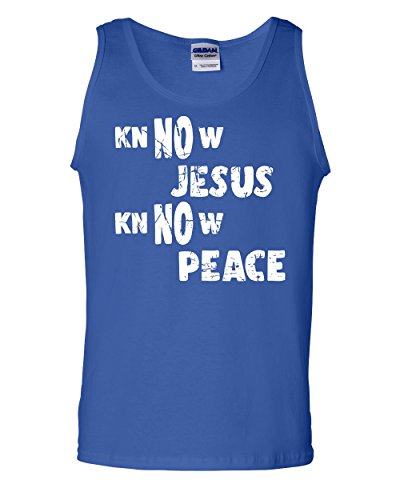 Tee Hunt Know Jesus Know Peace Tank Top Religion Christian Catholic Faith Sleeveless Blue XL