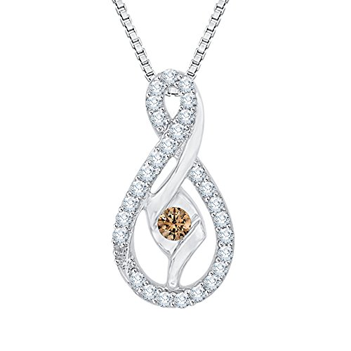 Sirena Diamond Necklace - Center Brown and White Diamond Pendant Necklace in 10K White Gold (1/4 cttw) (Color GH, Clarity I2-I3)