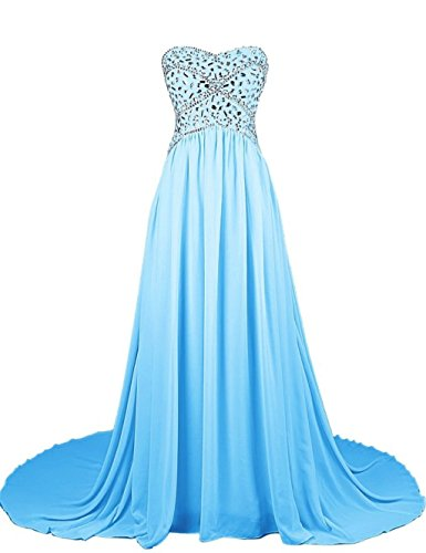 Chiffon Damen Abendkleider Blue 2016 Formelle Beaded Kleider Kleider Strapless Mint Fanciest Ball na0qwdY4a