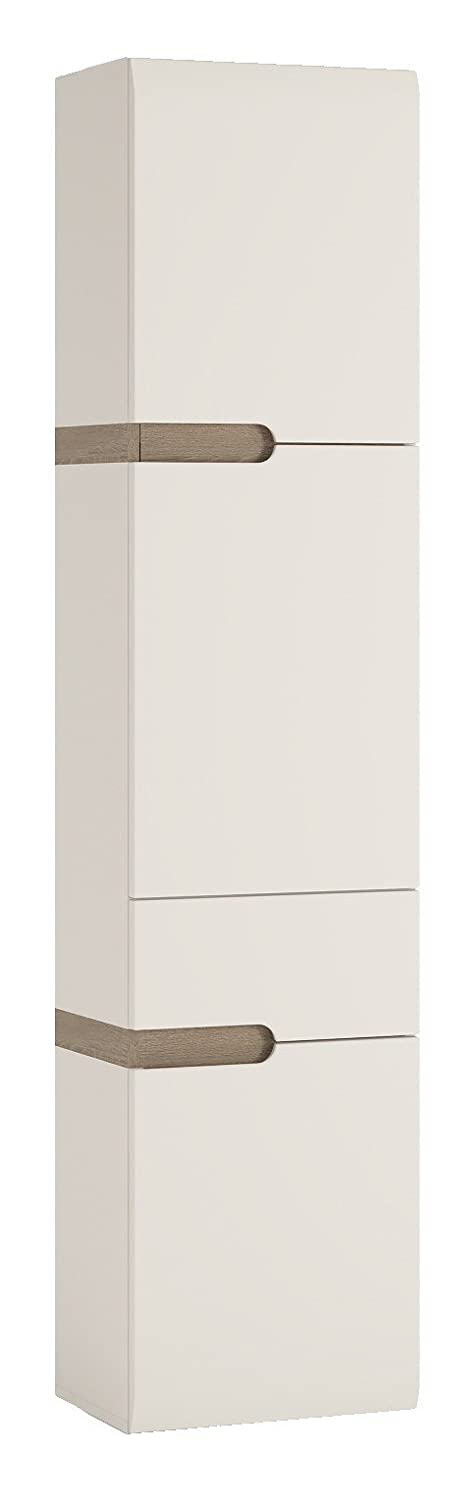 P&N Homewares Solna Tall Bathroom Wall Cabinet in White High Gloss (Right Hand Door) | For Bathroom, Kitchen, Bedroom etc. | 1 Drawer 2 Door Storage Cabinet | Modern Scandinavian Design | Solna Furniture Range