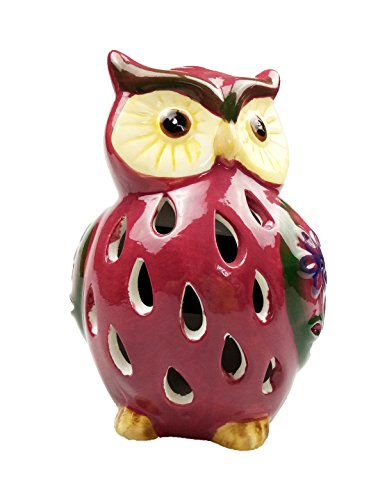Lightahead Solar Owl Light Ceramic Owl Powered by Solar LED Light for Park, Patio, Deck, Yard, Garden, Home, Pathway, Outside Landscape for decoration and celebration - Red (Home & Garden)