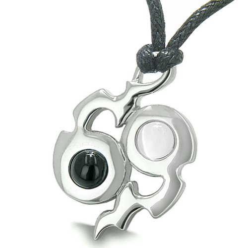 Amulet Yin Yang Infinity Magic Fire Energy Simulated Onyx White Simulated Cats Eye Pendant Necklace