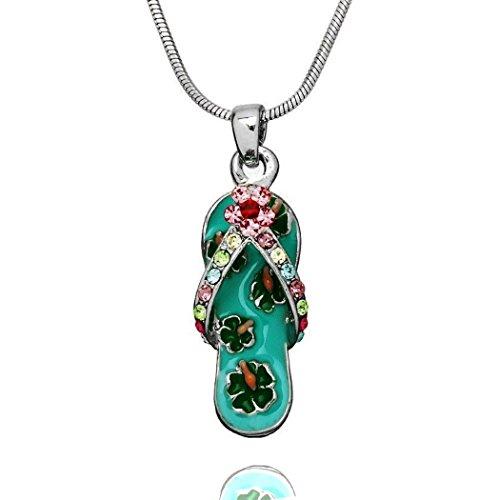 DianaL Boutique Silver Tone Beautiful Enameled Flip Flop Slipper Sandal Shoe Pendant Necklace