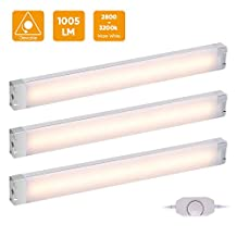 LED Under Cabinet Lighting, LED Light Bar 12W 1005lm Dimmable Warm White, LED Night Light for Kitchen Counter Closet Bookshelf Drawer Wardrobe, 3 Pack[Energy Class A++]