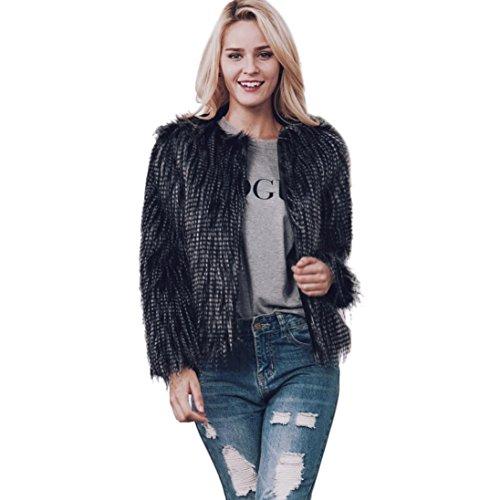 Internert Noble temperamento Abrigo de piel sintética cálido para mujer New Ladies Chaqueta de invierno Negro
