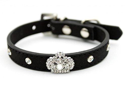Rhinestone Party Collar - Dogs Kingdom Crystal Rhinestone Necklace Bling Pet Collars For Small Pets Cats Collar Black XS: 11.8 x 0.59