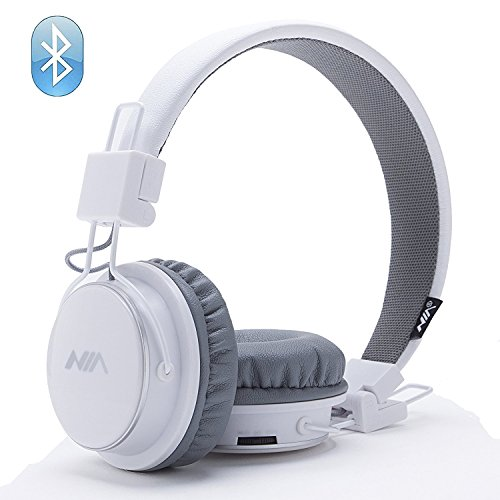 Hot Sale Wireless Bluetooth Headphones, Stereo & Foldable with Microphone for iPhone Android and Supreme Comfort Portable & Flexible On Ear White,NIAs Unique & Official Amazon Outlet (White)