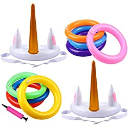 Aitbay Unicorn Inflatable Ring Toss Game - Pool Party Favors Supplies Kids, Funny Family Game Set Swimming Ring Toss Game Pool Games (19 Pack)