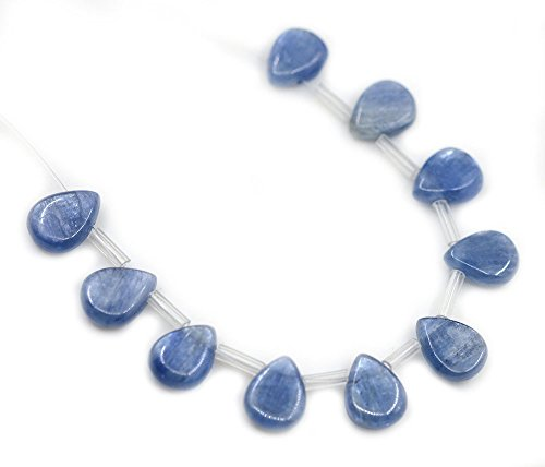 Justinstones 10mm Natural Blue Kyanite Gemstone Teardrop Loose Beads Pack Of 10
