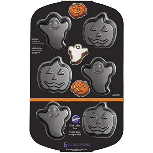 Wilton 2105-8961 Pumpkin Non-Stick Mini Ghost, Cake, Pan, One Size, Assorted -