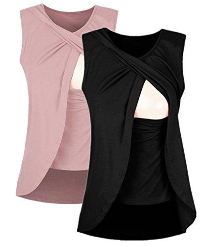 Shele Women's Sleeveless Nursing Maternity Pregnant Breastfeeding Tops (M, 2Pack(Blush+Black))