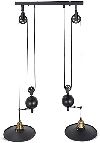 Happybuy Pendant Light 10.2 inches Dia X 35 inches H Vintage Industrial Hanging Pulley Pendant Lights 39 inches Adjustable Cable Retractable Ceiling Lamps