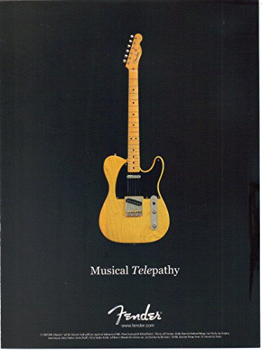 """Magazine Print ad: 2002 Fender American Vintage Series 52 Telecaster Electric Guitar,""""Musical Telepathy"""", 2 pages"""