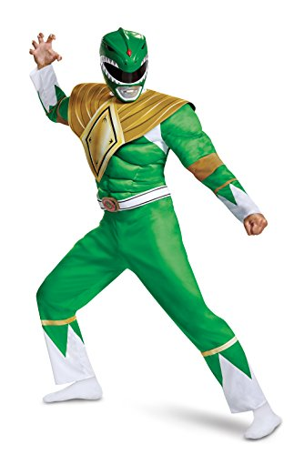 Power Ranger Custome (Disguise Men's Green Ranger Classic Muscle Adult Costume, L/XL)