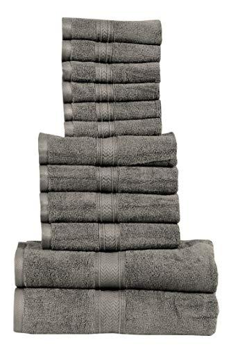 HILLFAIR 12 Piece- 600 GSM Cotton Bath Towels Set - Hotel Spa Towels Set- 2 Bath Towels, 4 Hand Towels, 6 Washcloths- Absorbent Soft Cotton Towels Set- Natural Grey Towel Set- 100% Cotton Towel Set