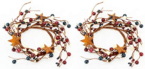 OBI Berry Metal Star Candle Rings Mini Wreaths 2pk - Country Primitive Patriotic Americana Small Floral Decor - Red, White, and Blue