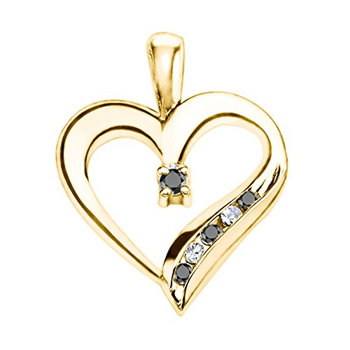 TwoBirch 14k Yellow Gold 14k Yellow Gold Adorned Heart Shaped Pendant with Chain Charm set with Black And White Diamonds (0.25 ct. twt.) with Black And White Diamonds (0.25 ct. twt.)
