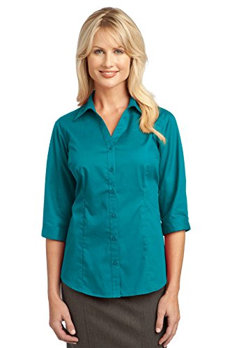 Port Authority Women's Improved 3/4 Sleeve Blouse L Teal Green