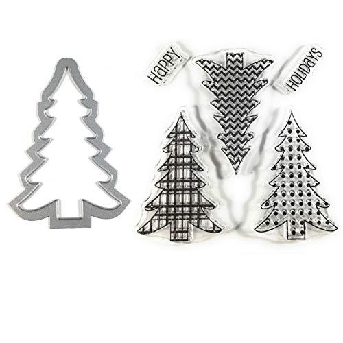 (Christmas Tree Clear Stamps and Metal Cutting Die | 6 Piece Set | Perfect for DIY Christmas Cards, Scrapbook Albums and Pages)