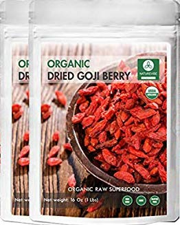 Organic Goji Berries Dried (2lbs) (2 Pack of 1lbs Each) by Naturevibe Botanicals, Gluten-Free & Non-GMO | Raw Superfood | Nutritious and Boost Energy Level