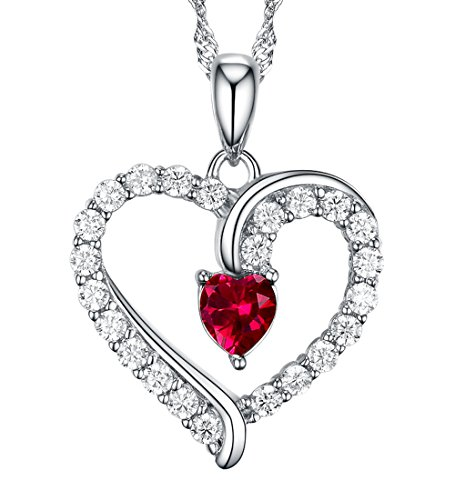 July Birthstone Fine Jewelry Love Heart Red Ruby Pendant Necklace Gifts for Her for Wife Birthday Anniversary for Women for Lady Sterling Silver Swarovski 18