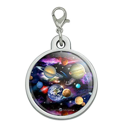 GRAPHICS & MORE Planets Solar System Earth Saturn Jupiter Mars Pattern Chrome Plated Metal Pet Dog Cat ID Tag - Large