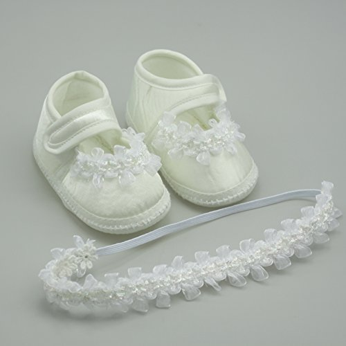 6718d3528 Nihao Baby Newborn Girls Shoes White White Crib Shoes Infant Christening  Lace Headbands (3.94 inches