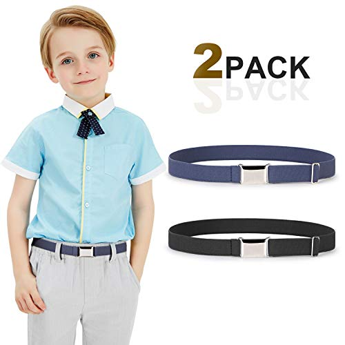 Kids Toddler Belt Elastic Stretch Adjustable Belt For Boys and Girls with Silver Square Buckle 2 Pack By JASGOOD -