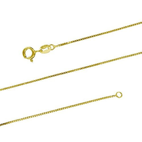 14kt Yellow Gold Plated Sterling Silver 1mm Box Chain Necklace Solid Italian Nickel-Free, 14-36 Inch