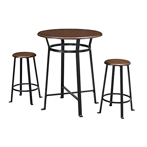Dorel Living Montgomery 3-Piece Dining Set, Dark - Piece Table Bar 3 Set