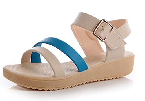 Wohnung mit offenen Sandalen weibliche flache Schnalle Schuhe Sommer Sandalen und Pantoffeln Blue