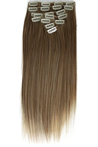 """PRETTYSHOP XXL Full Head Set 8 pcs 20"""" Clip In Hair Extensions Hairpiece Smooth Straight Heat-Resisting dirty blonde mix # 12T613 CES119"""